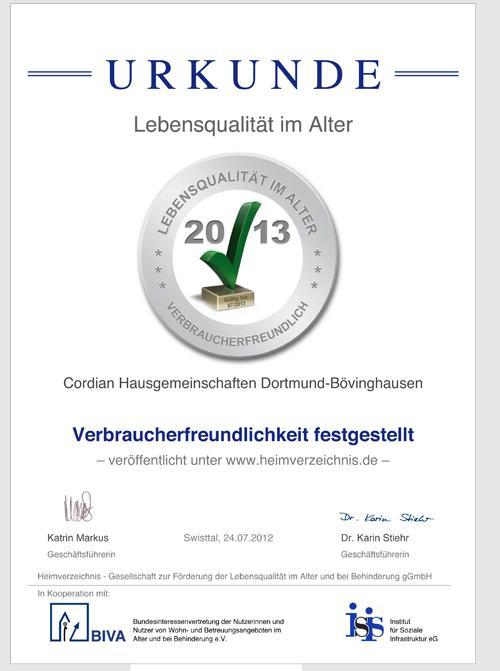 Urkunde Grüner Haken für Pflegeheim Cordian Hausgemeinschaften Dortmund